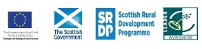 The European Agricultural Fund for Rural Development, Europe Investing in Rural Areas logo, The Scottish Government logo, SRDP Scottish Rural Development Programme logo, Leader Ayrshire logo.