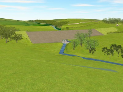 Mocked up visualisation of the completed dam
